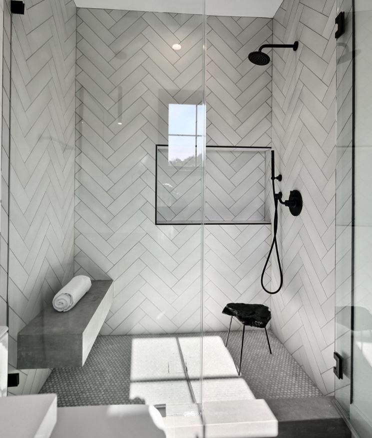 baños con ducha de obra modernos sin ventanas