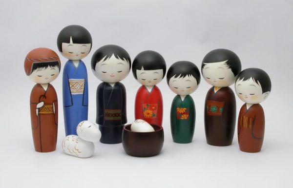 belen de navidad con figuras japonesas