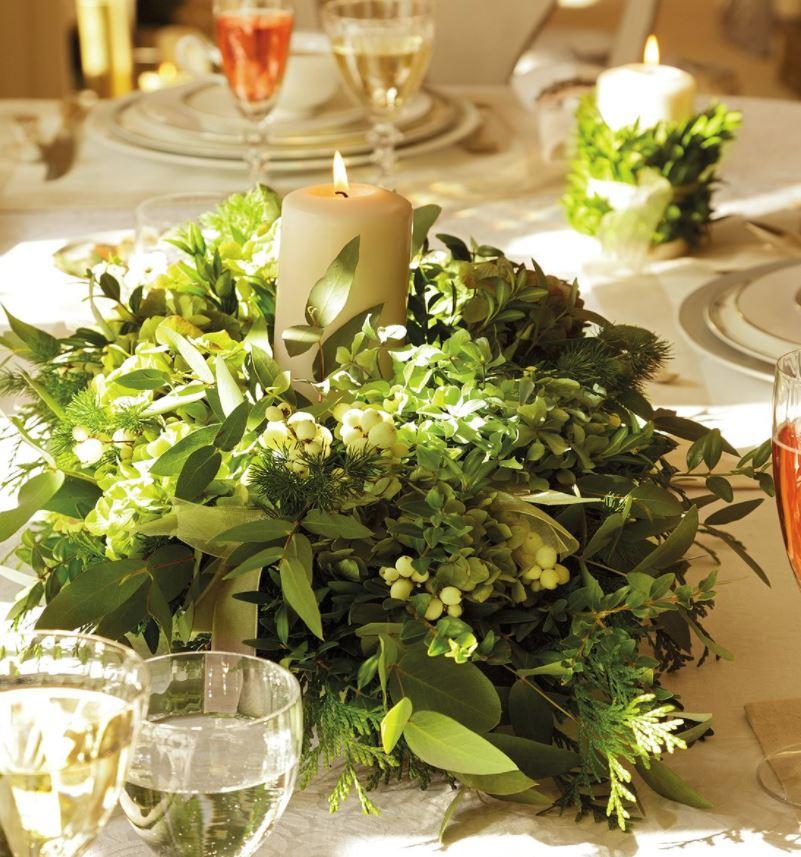 centro de mesa con plantas naturales