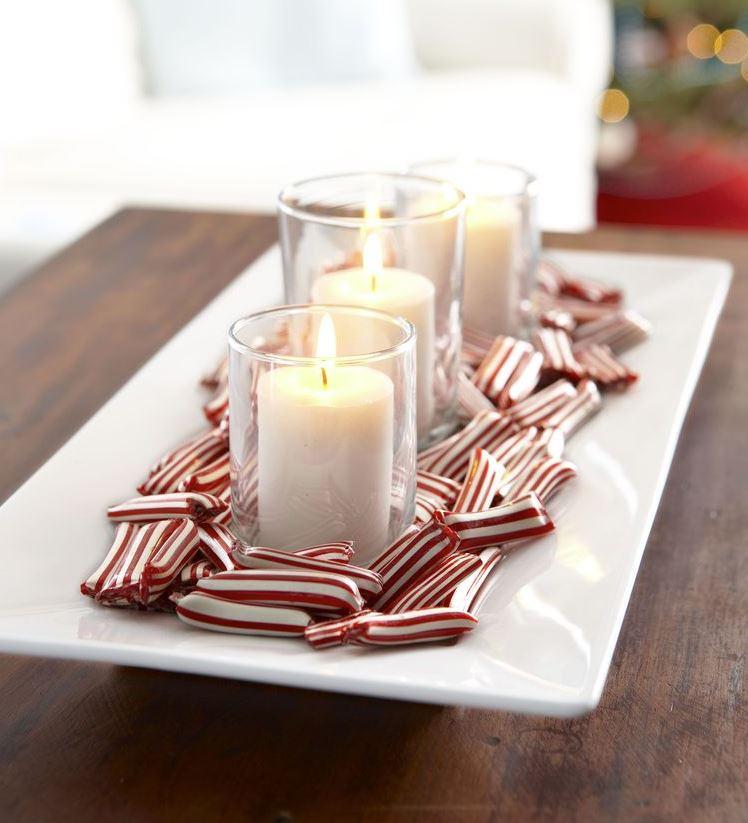 centro de mesa de navidad con velas