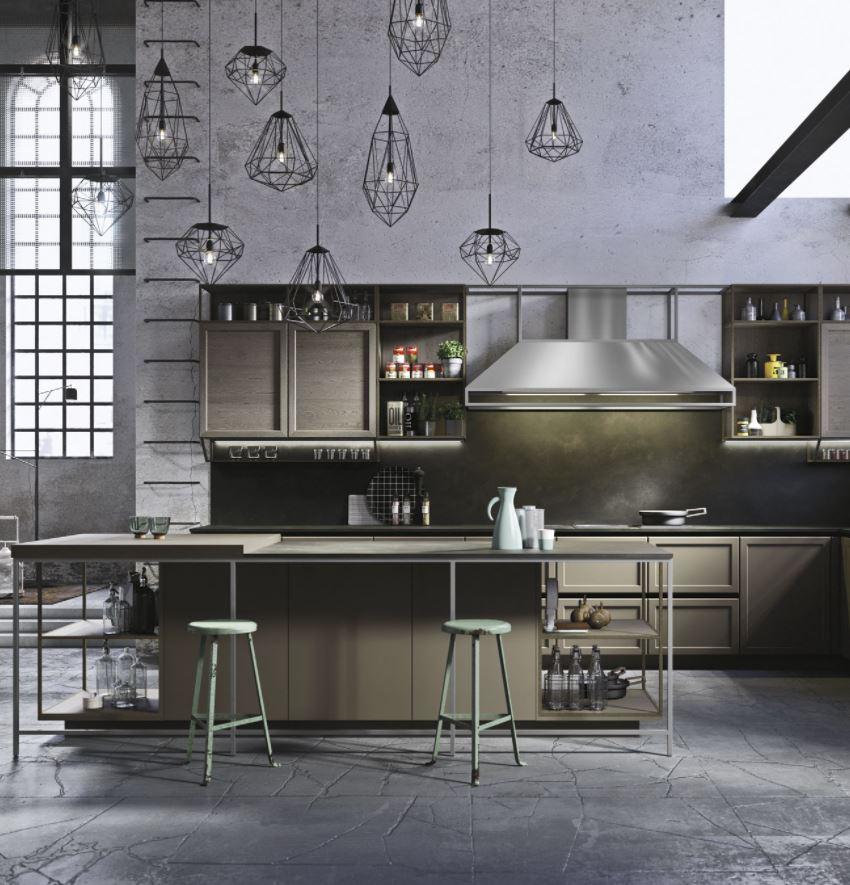 cocina abierta industrial al salon
