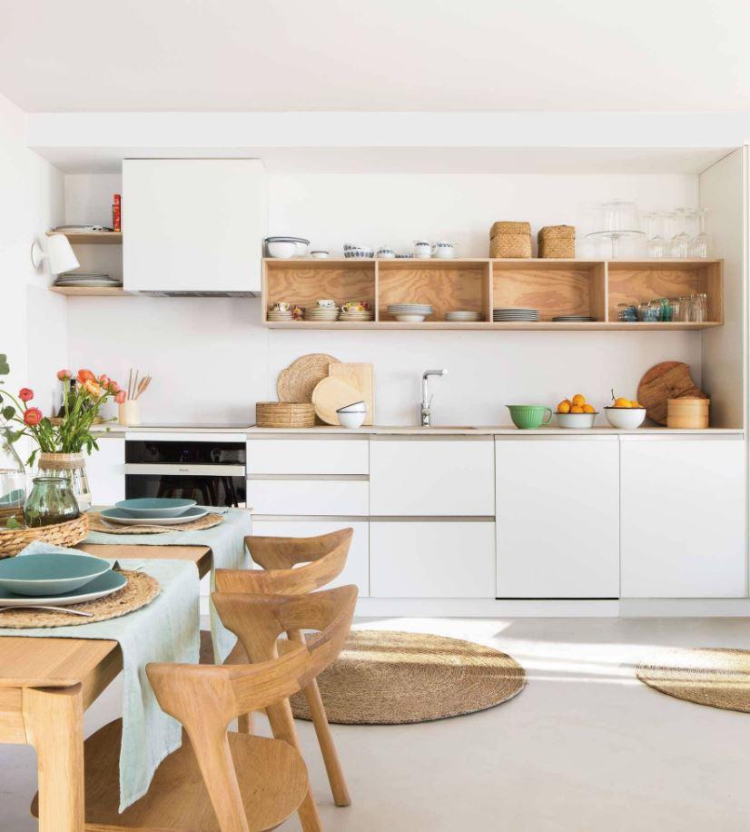 cocina blanco y madera
