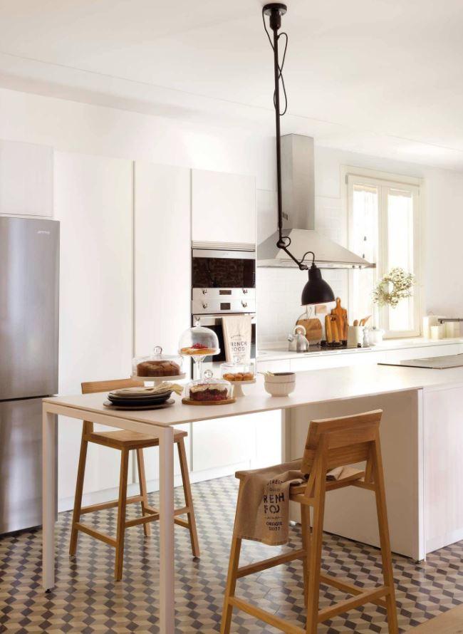 cocinas blancas con electrodomesticos grises