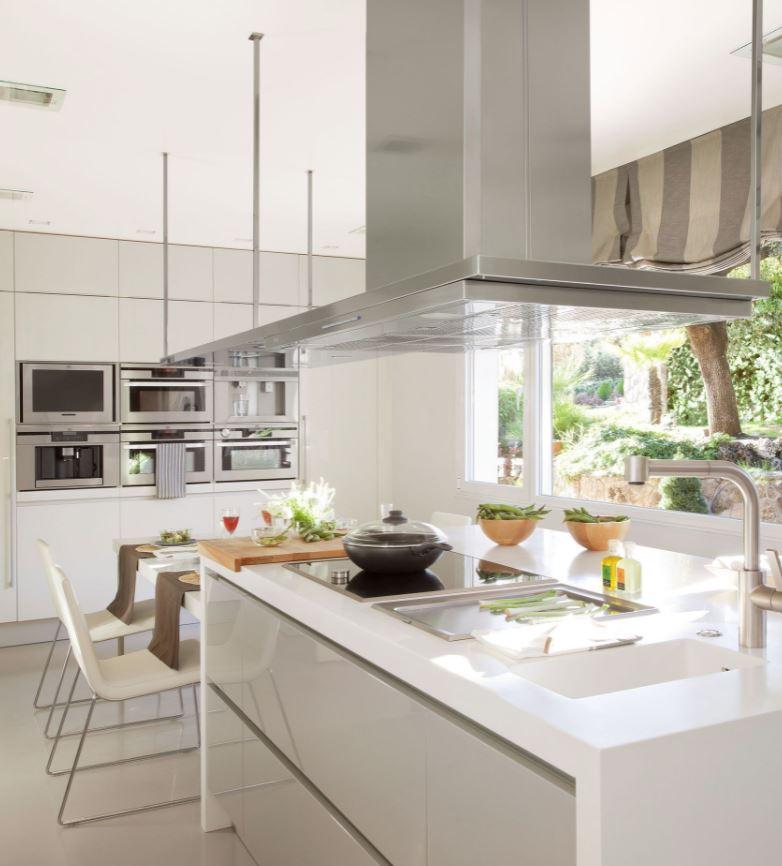 cocinas blancas y grises modernas