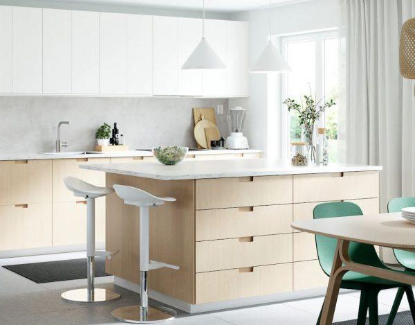 cocinas en blanco y madera