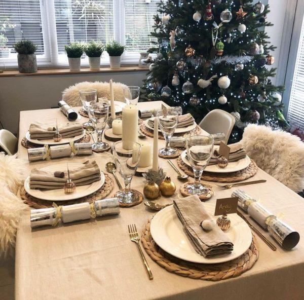 como adornar mesa de navidad