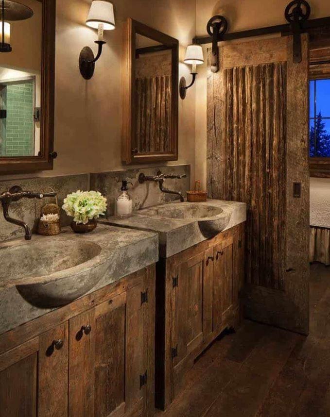 como adornar un baño rustico