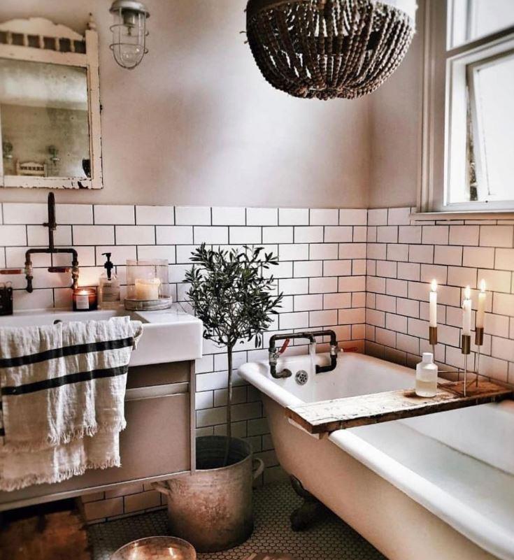 como decorar un baño rustico