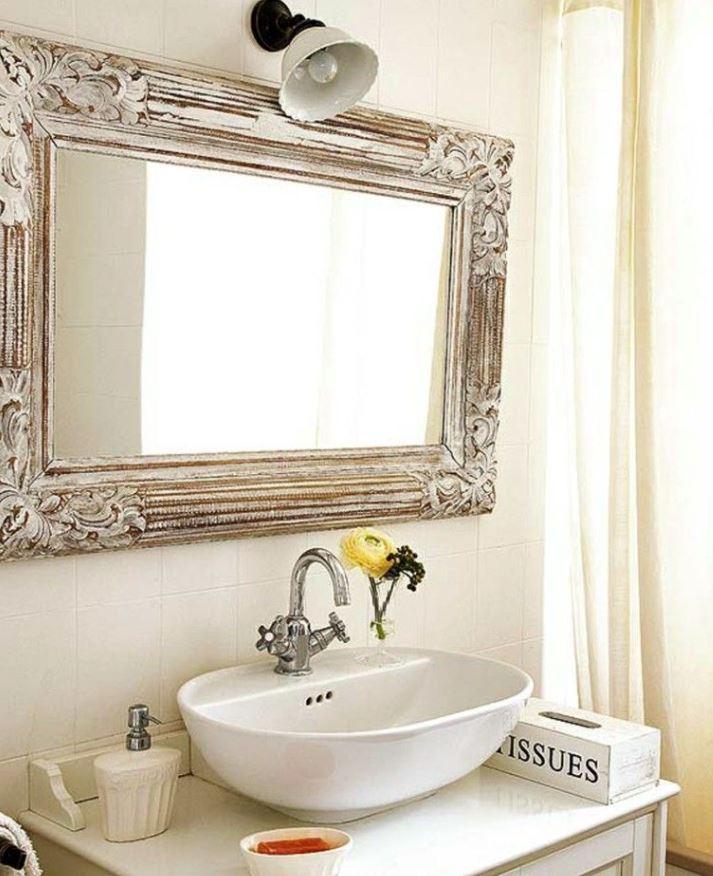 como decorar un espejo para baño