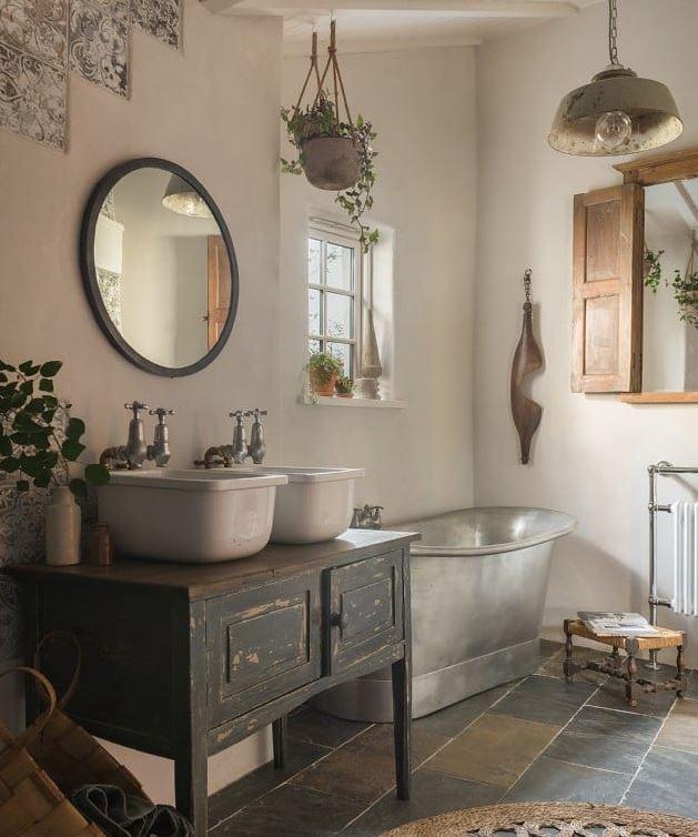 cuartos de baños rusticos fotos