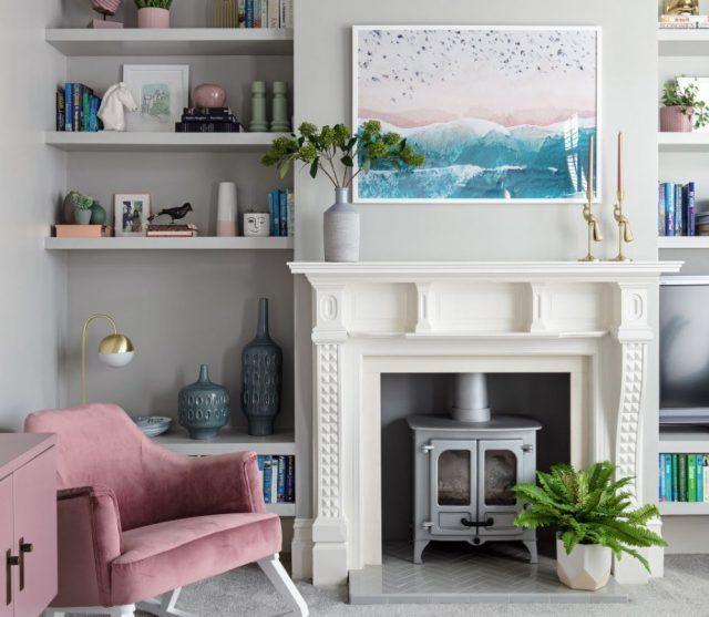 decoración de salones con chimenea