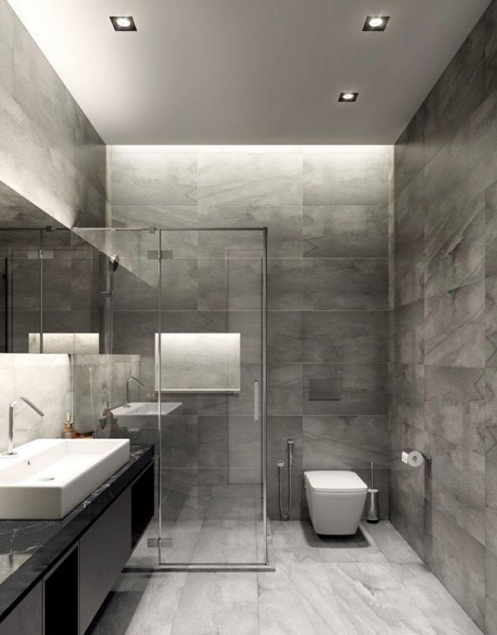 decoracion baños oscuros