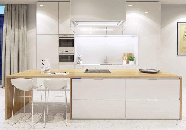 decoracion cocinas blancas madera