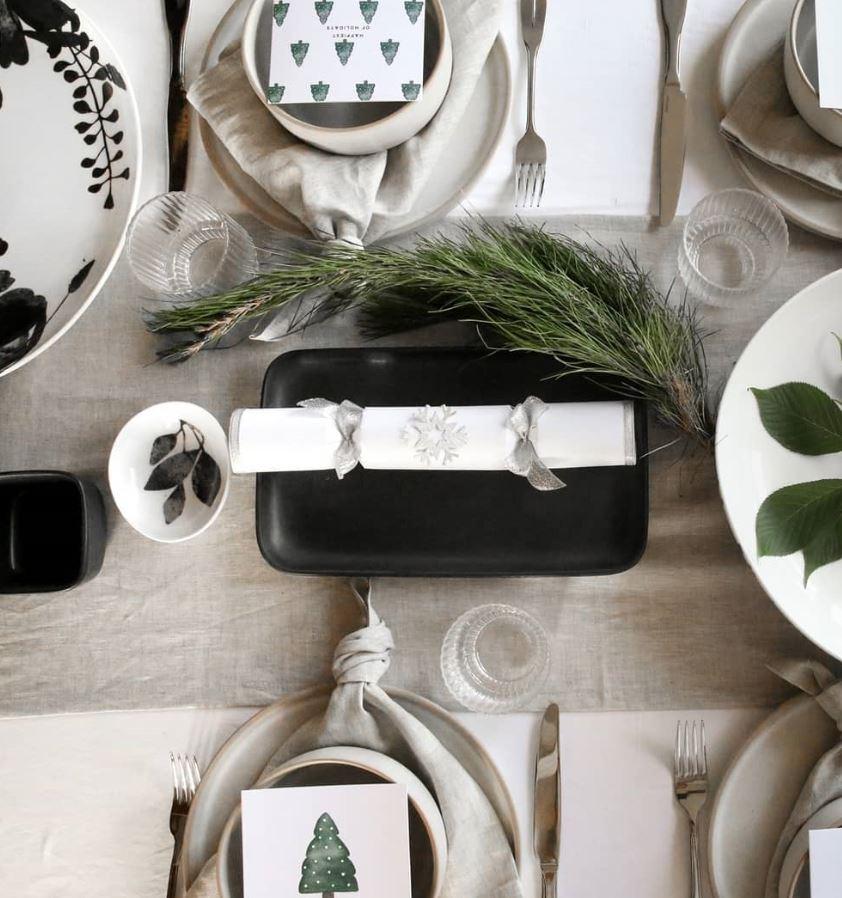 decoracion mesa navidad blanco y negro