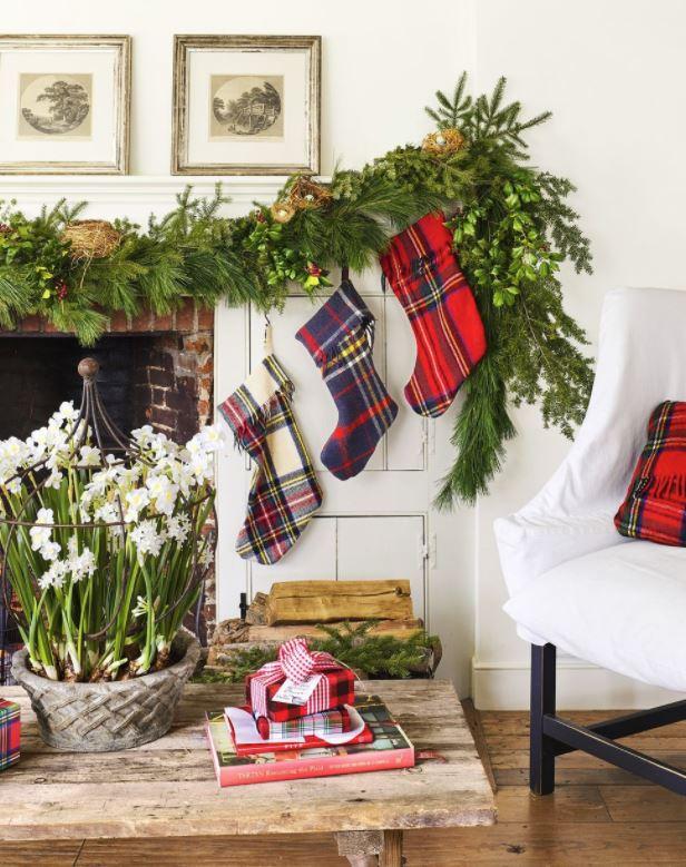 decorar fotos de navidad chimenea