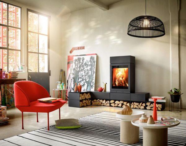 diseños de salones con chimenea