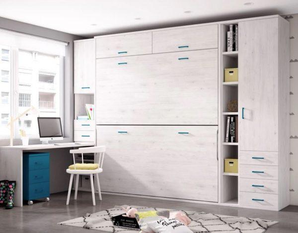 diseños habitaciones juveniles cama mueble plegable