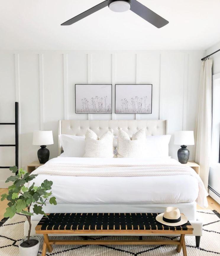 dormitorio blanco y madera