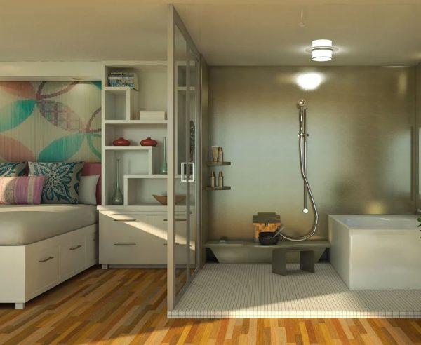 dormitorio con baño abierto moderno