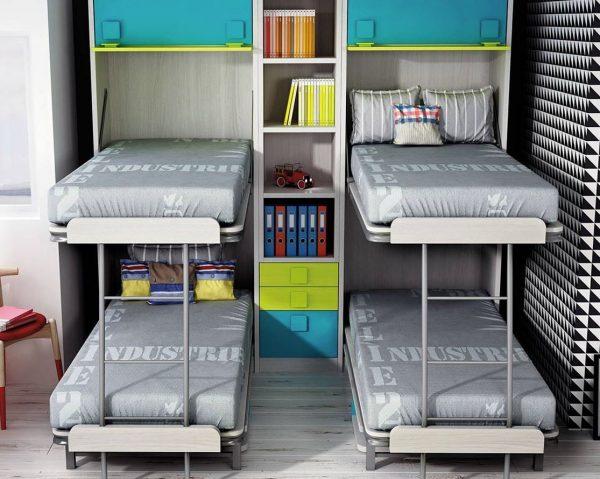 dormitorio infantil con literas abatibles