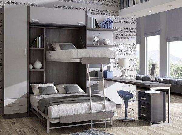 dormitorios juveniles modernos con litera abatible