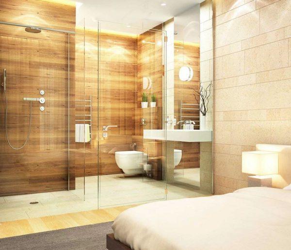 ducha integrada en habitacion