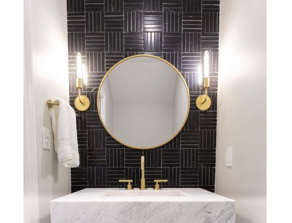 espejo color oro baño