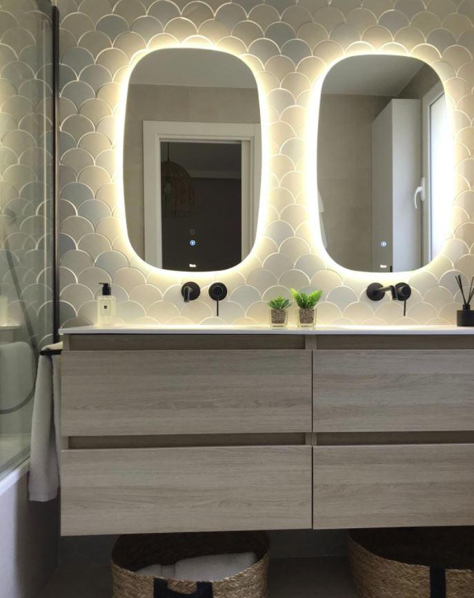 espejo con luz led para baño