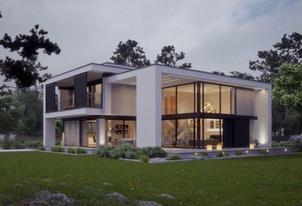 fachadas de casas de campo de dos pisos