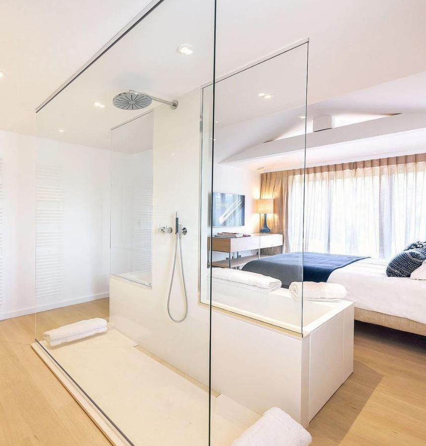 habitacion con baño abierto decorar con gusto