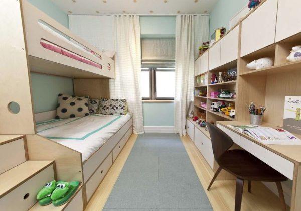 habitacion doble para niño y niña con litera