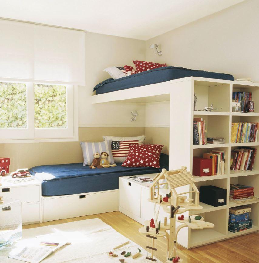 habitacion pequeña para dos niños camas elevadas