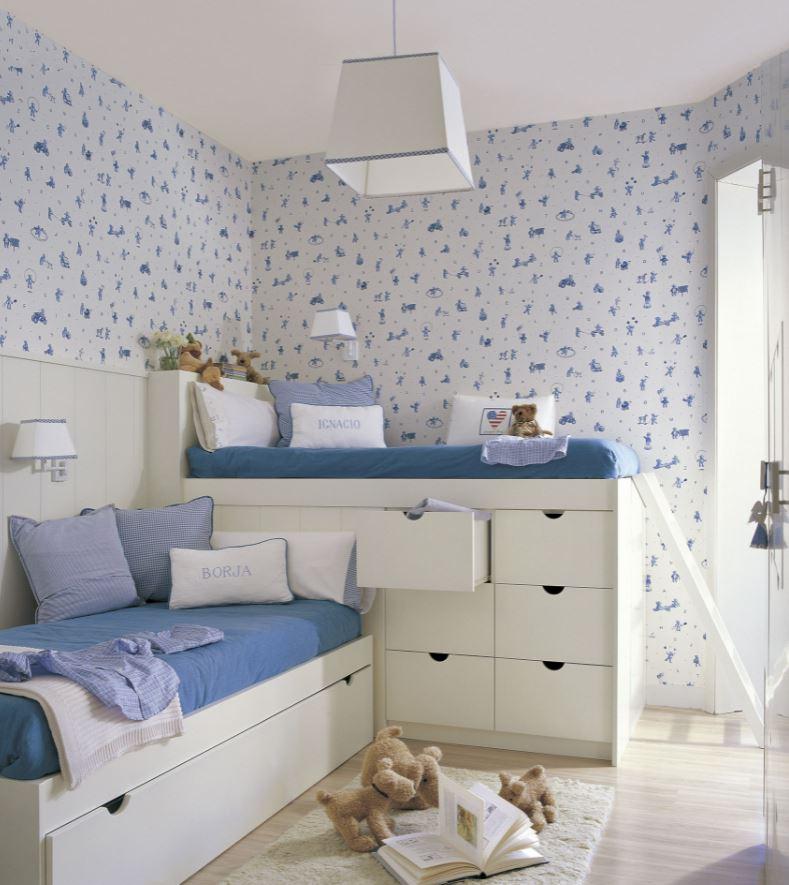 habitaciones infantiles compartidas pequeñas azul niño