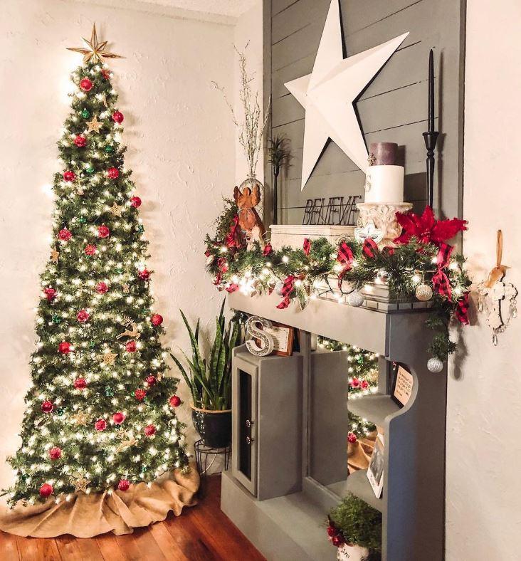 ideas de arbol navideño en la pared