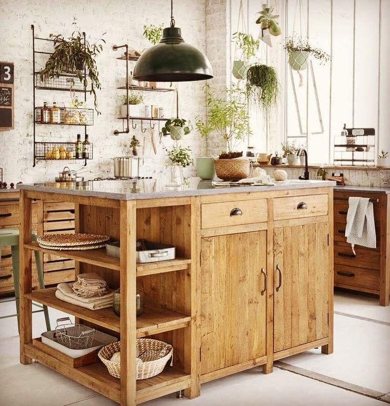 isla de cocina de madera rustica