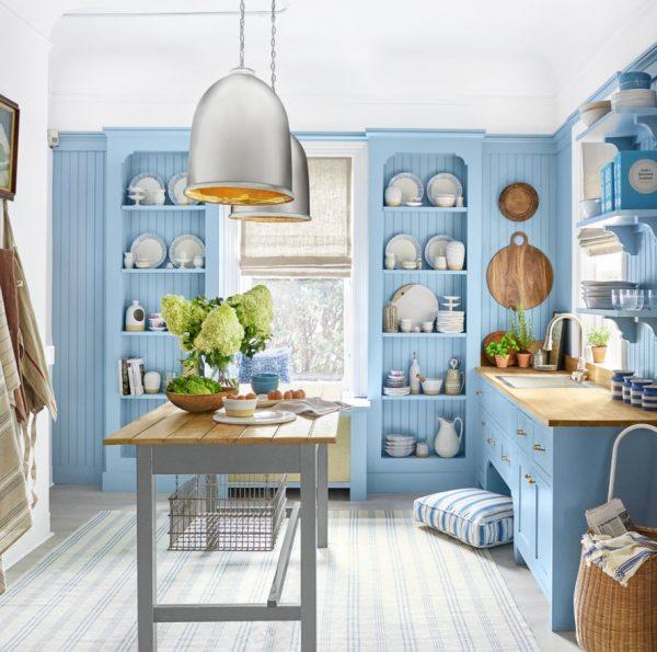 isla portatil para cocina azul