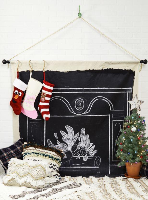 manualidades hacer chimenea de navidad