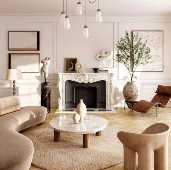 mueble salon con chimenea rustico