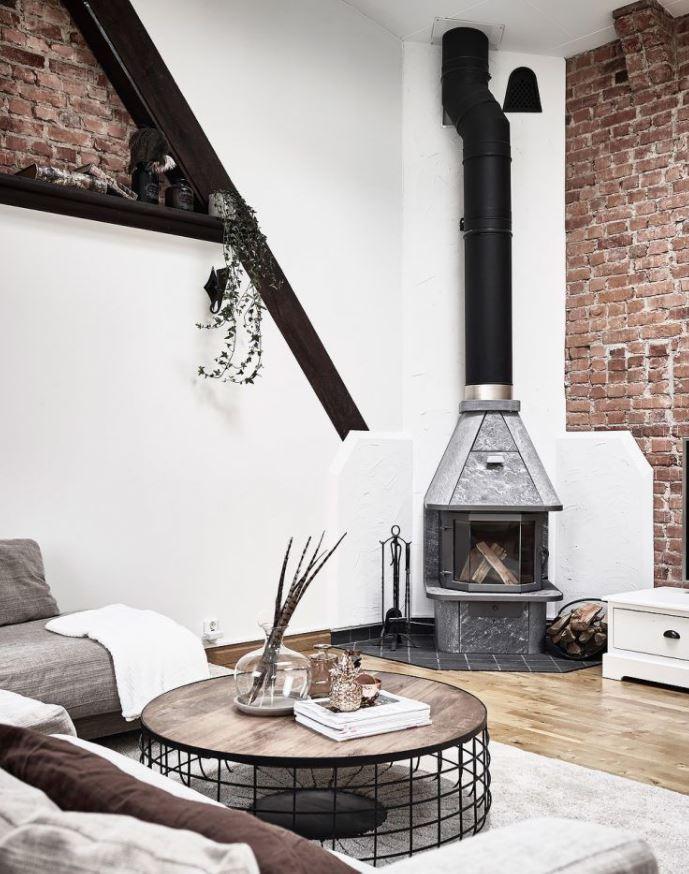 salon bonito con chimenea moderna