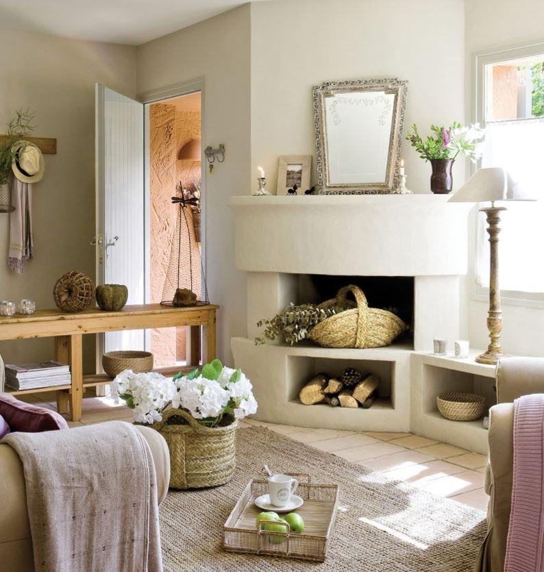 salon esquinero con sofa y chimenea