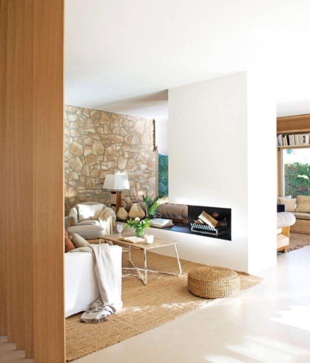 separar ambientes en el salon con chimenea