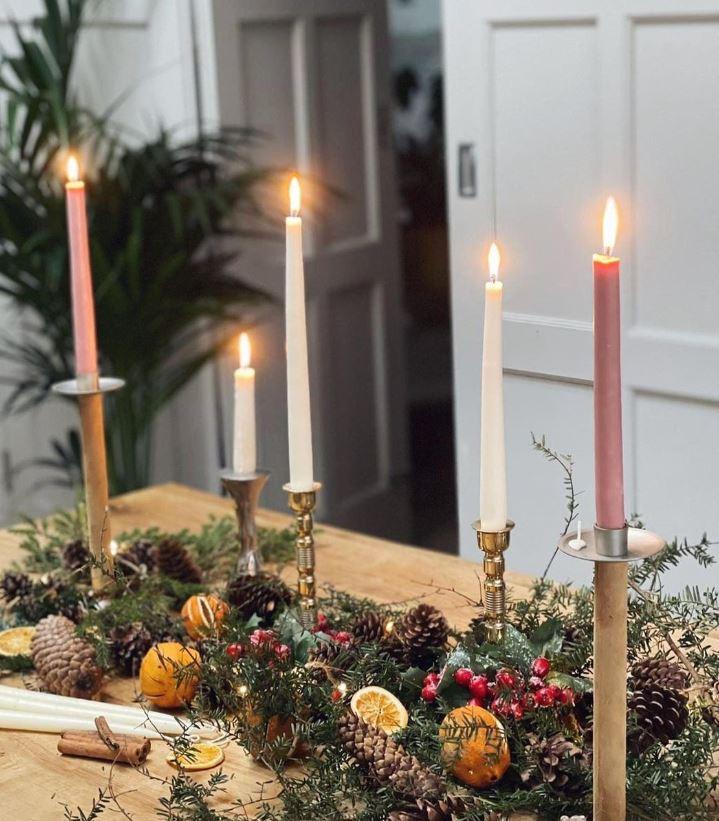 velas de navidad para centro de mesa