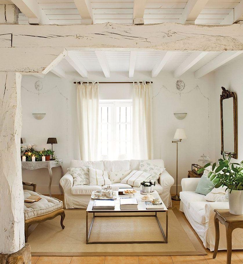 vigas blancas techo